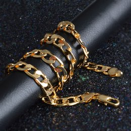желтое золото 18 k ожерелье Скидка 10 мм 20 дюймов мужчины 18 к кубинская цепь желтого золота покрытием кубинский цепи ожерелье мужские ювелирные изделия хип-хоп шеи цепи AAA140