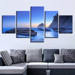 Wholesale wall decor panels beach - Pictures Canvas HD Print Wall Art 5 Pieces Morning Sunrise Beach Painting Rock Wave Seascape Poster Home Decor Modular Framework