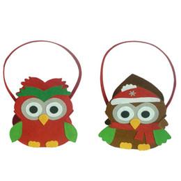 Presente do natal da coruja bolsa de lona on-line-Presente de Natal Doces Bolsa Crianças Presente Bolsa Bonito Saco Padrão Coruja para Crianças Árvore de Natal Decoração de Decoração Para Casa enfeites
