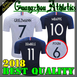 Wholesale Breathable Shirts - france pogba soccer Jersey 2018 World Cup home BLUE 18 19 PAYET DEMBELE MBAPPE GRIEZMANN KANTE national team football shirts COMAN AWAY whit