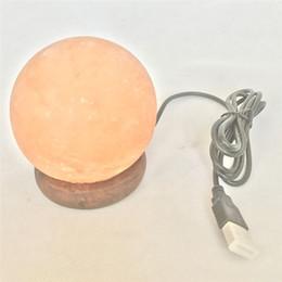 гамалайские солевые лампы Скидка 3W USB LED Night Light Anion Himalayan Salt Lamp Table Desk Lamp Crystal Rock Carved Sphere Changeable Lights Decorations