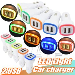 Wholesale Lighted Charging Cables - Best LED Dual USB Car Chargers Universal Dual USB Charging Light Data Cable For Galaxy Car Chargers Cables Samsung LG Sony HTC