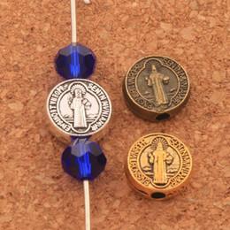 2019 croix d'or antiques 300pcs / lot Saint Benoît Médaille Croix Crucifix Entretoises Perles 9x9mm Argent Antique / Or / Bronze À La Main Bijoux DIY L1665 croix d'or antiques pas cher