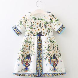 2019 schicht tüll kleid weiße mädchen Mädchen Kleid 2019 Herbst Marke Prinzessin Kleider Europäischen und Amerikanischen Stil Kinder Kleid Blumen Druck Kinderkleidung