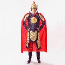 Cappello cinese online-Costumi di Halloween vintage Shogun abbigliamento Coat + Hat + Cloak + Inner wear Antico costume cinese Cinese Guerriero generale guerriero