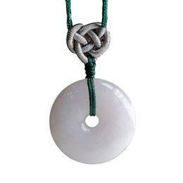 Jadeite colares on-line-Natural jadeite Peace buckle pendant transshipment protective Peace buckle Men and women style Jade necklace pendant