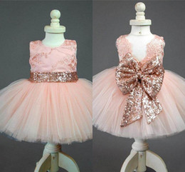 Wholesale mini wedding dresses bow - 2018 New Arrival Cute Pink Flower Girl Dresses With Bow Lace Appliques Tulle Puffy Little Girls Kids Pageant Dresses