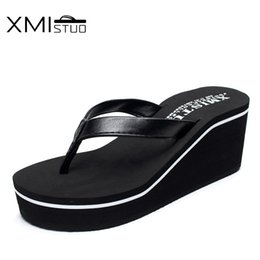 Wholesale fine canvas prints - XMISTUO Increase 6.7cm high-quality fashion non-slip thick flat-bottomed slope with the beach with fine leather ladies slippers