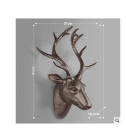Wholesale Gold Home Accessories - Original European Animal Deer Head Elephant Hanging Stereo Creative Livingroom Mural Home Wall Background Decoration Resin Craft