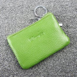 Wholesale natural leather bags - Lovely Natural Cowhide Womens Small Wallet Coin Pocket Genuine Leather Zipper Slim Mini Purse Money Bag With Key Ring W5010