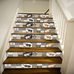 Wholesale Wall Stickers Stairs - Home Decor Wall 5pcs 6pcs Vintage Stair Tile Stickers DIY Bathroom Anti slip Stickers Decoration Photo Mural PVC wall sticker Home Decal