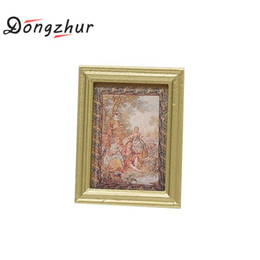 Wholesale Paint Wood Frames - Wholesale-Dongzhur 1:12 Dollhouse Miniature Decorative Painting With Gold Frame Doll Parts Play House Tools Photo Frame