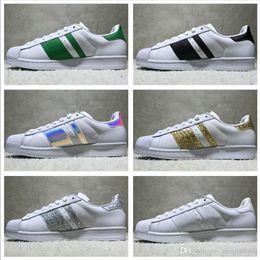 Wholesale Cotton Stitch - Best Quality Superstar White Hologram Iridescent Junior Superstars Sneakers Super Star Women Men Sport Running Shoes EUR36-45
