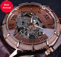 Wholesale Watch Numbers Face - Forsining Skeleton Watch Transparent Roman Number Watches Men Luxury Brand Mechanical Men Big Face Watch Steampunk Wristwatches