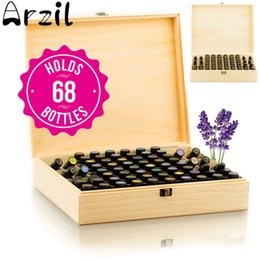 Wholesale oil shoe - 68 Slots Essential Oil Wooden Storage Box Case Container Aromatherapy Bottles Organizer Home Storage Holder Helper