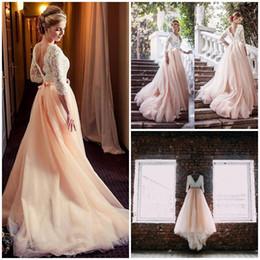 Maniche lunghe scollo a V A Line Tulle Blush Lace Open Back Sexy Beautiful Wedding Dress Abito da sposa Nuova venuta da abiti da sposa in spiaggia di abito avorio fornitori