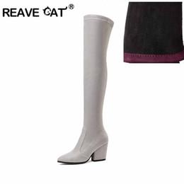 Botas de invierno caramelos online-REAVE CAT 2018 Botas de Mujer de Tacón Alto de Invierno Sobre La Rodilla Sólido Color Caramelo Sexy Señoras Tela Elástica Botas de Moda Negro A887