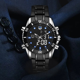 luxury digital sports watches men Promo Codes - TVG 2018 Hight Quality New Luxury Stainless Steel Stop Watch Sport Watch Men LED 100FT Waterproof Wrist Watches BLUE