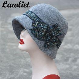 Lawliet Flower Floppy Women Cappello invernale Wool Fedoras Secchi Cappelli  Grigio Nero Gatsby Vintage Style Cloche Hats economico cappelli di lana di  ... 36b84ae7fdb1