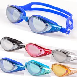 Óculos de natação espelhados on-line-High Grade Galvanoplastia À Prova D 'Água Anti Névoa Definição Espelho De Natação Mulheres Homens Feminino Natação Plana Óculos de Mergulho De Vidro F