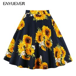e7fd1d7c1 Enyuever Plus Size Pleated Skirts Summer Women Sunflower Floral Print  Rockabilly Retro Jupe Vintage Party High Waist Midi Skirt