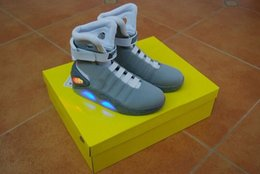 Wholesale Mag Shoes - Air Mags Marty McFly's Sneakers Glow In The Dark Men's Basketball LED Shoes Footwear Mag Glow Sneaker Gray Black Red Colors With Boxes