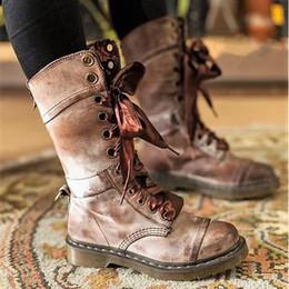 fe95cdc9897e65 2019 retro platform heels Martin stiefel frauen mid heels pu leder retro  damen schuhe herbst winter