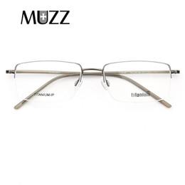 1227fd189465 MUZZ Brand Top Quality Slim Ultra Light Eyeglasses Pure Titanium Men Myopia Glasses  Frames