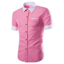 Wholesale Boys Wearing Briefs - Brief Pink Boy Blusa Summer Wear Short Sleeve Shirt Cotton Tops Male Office Casual Shirts Fashion Patchwork Blouse Handsome Boys