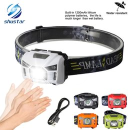 Wholesale outdoor headlights - 5W LED Body Motion Sensor Headlamp Mini Headlight Rechargeable Outdoor Camping Flashlight Head Torch Lamp With USB