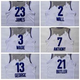 Wholesale Butler Jerseys - 2016 East All Star men Jerseys LeBron James,Dwyane Wade,Carmelo Anthony,Jimmy Butler,John Wall,Kyrie Irving Jersey White Jersey