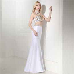 Wholesale Two Piece Dresses Diamond - Sexy Two-piece Prom Dress Halter-style String Diamond Sequins Special Back Design Party Dress Beauty Pageant Dress