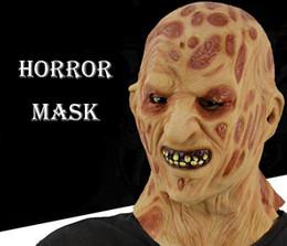 realistische horrormasken Rabatt Brennen Sie Gesicht Horror Maske Realistische Erwachsene Party Kostüm Horror Maske Scary Halloween Karneval Cosplay Zombie Maske