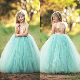 Wholesale Tiered Dresses For Girls - Spring Cheap Flower Girls Dresses For Weddings Jewel Hollow Back Mint Green Girls Pageant Dresses Summer Wear Sequined First Communion Dress
