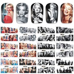 nail water decals black Coupons - 12 Designs In 1 Set Nail Art Star Photos Marilyn Monroe Audrey Hepburn Nail Sticker Water Transfer Stickers Manicure Decal DIY