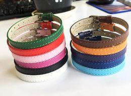 10PCS 8 * 210MM Braccialetti di cuoio genuini braccialetti accessori fai-da-te Fit 8mm Lettera scorrevole / Charms diapositiva perline cheap wristband slide 8mm da scivolo a bracciale 8mm fornitori