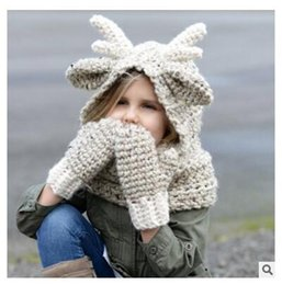 Wholesale Wholesale Winter Hats Gloves Scarfs - Scarf Gloves Set Hats Girls Winter Kids Elk Animal Knitted Hood Beanies for Autumn Winter Party Gifts Glove set 3 Colors Free Shipping