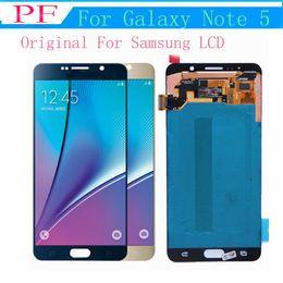taccuino blu Sconti Per Samsung Galaxy Note 5 Originale LCD Touch Screen Digitizer di ricambio Blu Bianco Oro N920 N920V N920A N920T N920P + Vetro temperato gratuito