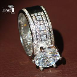 оптовые кольца стерлингового серебра Скидка YaYI ювелирные изделия мода Принцесса вырезать огромный 4.6 CT Белый Циркон серебряный цвет обручальные кольца обручальные кольца партия