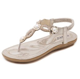 Wholesale comfortable gold sandals - Summer female models sandals 2018 new fashion flat Korean casual ladies clip toe wild gold comfortable