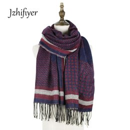 Wholesale Winter Wear Men Scarf - jzhifiyer YX155 scarfs winter reversible-wear cheveron plaid acrylic cashmere scarf men echarpe winter scarf shemagh bandelettes