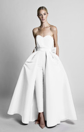 Wholesale detachable pants - 2018 Mother of the Bride Groom Suits Red Jumpsuits Celebrity Evening Dresses With Detachable Skirt Strapless Guest Party Gowns