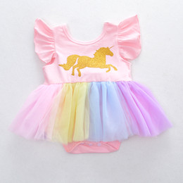 Wholesale Animal Jumpsuits - Baby girls unicorn Printed romper cartoon Rainbow horse Dress Children lace TuTu Fly sleeve Jumpsuits 2018 new Kids Clothing C3731