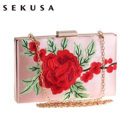 impresión floral de los bolsos negros Rebajas Bordado de la vendimia Rose Impreso Floral Mujeres Bolsa de noche Rosa Blanco Negro Bolsa de noche Messenger Chain Shoulder Small Handbags