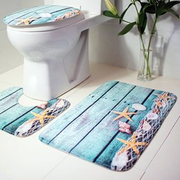 Wholesale Bath Rugs For Bathrooms - 3pcs Bath Mats Ocean Underwater World Anti Slip Toilet Pattern Rug Bathroom Mat Flannel Toilet Mat For Three Sets Of Bath Mat