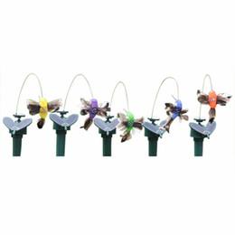 jardim de penas Desconto Borboleta Solar Colibri Jardinagem Brinquedo Idílico Elétrica Fly Simulação Borboleta Solar Brinquedos de Penas Coloridas Aleatória