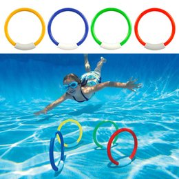 Wholesale pvc hot water bag - Children Diving Ring Water Toys Summer Swimming Divings Rings Throwing Toy Set Multi Color Hot Sale 7yx C R