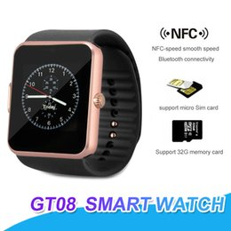 E caixa inteligente on-line-GT08 Bluetooth Smartwatch Com Slot Para Cartão SIM NFC Saúde Relógios Para Android Samsung E Apple iPhone Smartphone Relógios Inteligentes Com Caixa