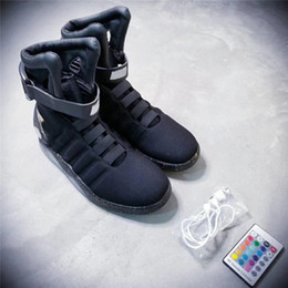Wholesale Mags Shoes - Air Mag Mens Back To The Future Lighting Mags Mens Basketball Shoes With LED Lights High Top Sneakers Black Grey with Box