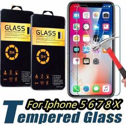 caja de vidrio templado iphone Rebajas Vidrio templado para iPhone 5 6 7 8 Plus X XR XS Max protector de pantalla Samsung S8 S9 2.5D 9H película resistente a las rozaduras para LG Sony con caja